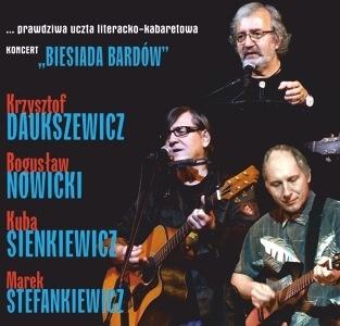 """Zapraszamy nakoncert """"BIESIADA BARDÓW"""" – wyk.: Krzysztof Daukszewicz, Bogusław Nowicki, Kuba Sienkiewicz iMarek Stefankiewicz."""
